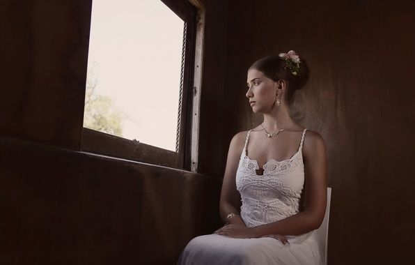 Picture sadness, reverie, window, the bride