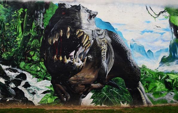 Picture wall, graffiti, dinosaur, mouth, Graffiti, roar, T-Rex