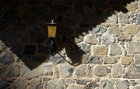Picture light, wall, widescreen, Wallpaper, stone, shadow, masonry, lantern, wallpaper, widescreen, background, the Wallpapers, full screen, …