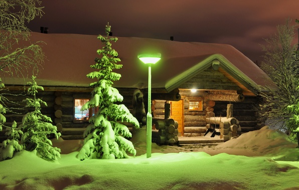 Picture winter, light, snow, trees, night, spruce, lantern, house, porch, Finland, Lapland