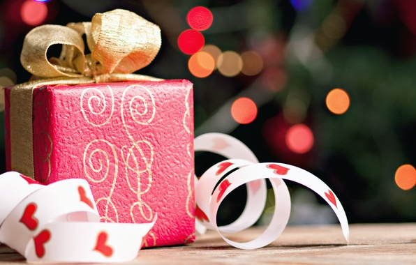Picture tape, box, gift, gold, bow, red, holidays, bokeh, gift