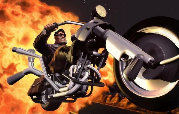 Picture forward, art, motorcycle, biker, moto, genre, character, Ben, computer, biker, wallpaper., racing, LucasArts, full throttle, …