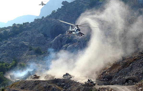Picture road, mountains, machine, smoke, helicopters, dust, tank, support, Mi-24, Bmpshki, Column, cover