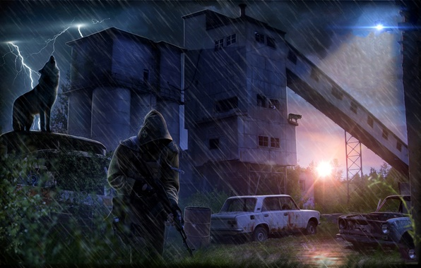 Picture machine, night, rain, plant, lightning, wolf, truck, Chernobyl, Stalker, Pripyat, area, Ukraine