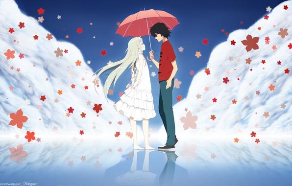 Photo Wallpaper Red Umbrella Anime Blonde Pair Brunette Many