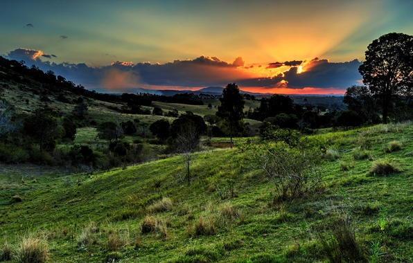 Picture the sky, clouds, trees, sunset, mountains, valley