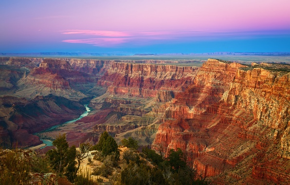 Picture the sky, sunset, mountains, rocks, desert, USA, Grand Canyon, Arizona, National Park Grand Canyon