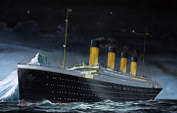 Photo wallpaper The sky, Sea, Night, Figure, Liner, Iceberg, Titanic, The ship, Titanic, The time, Passenger ship, ...