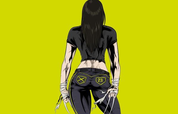 Picture girl, claws, x-men, yellow, marvel, x-men, Comics, X-23, Laura Kinney, Laura Kinney
