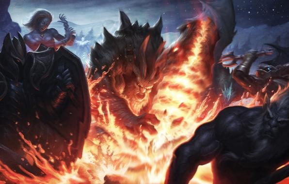 Picture Slayer, dota 2, Lina, Azwraith, Dragon Knight, Phantom Lancer, Davion