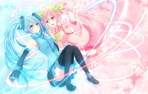 Picture snowflakes, girls, Sakura, vocaloid, hatsune miku, Vocaloid, cherries, sakura, mike