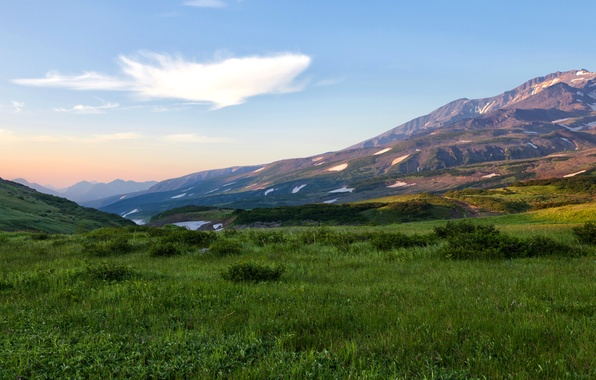 Picture field, grass, mountains, Russia, Kamchatka, Kamchatka
