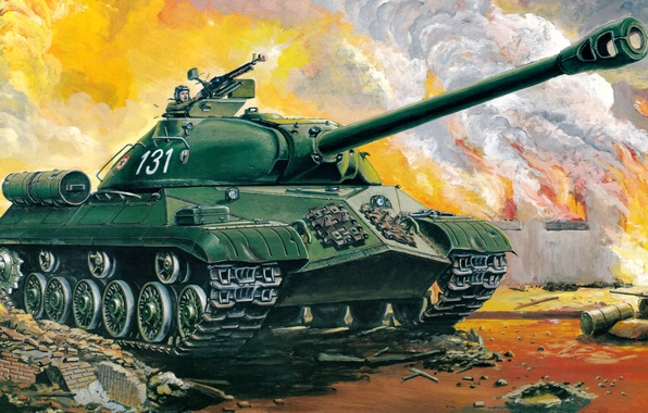 Picture art, tank, Egypt, USSR, the battle, night, guns, weapons, heavy, Soviet, caliber, China, Is-3, supplied, …