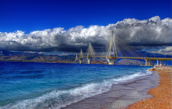 Picture the sky, water, clouds, bridge, pebbles, shore, colored, Greece, pebbles, Rio-Antirio, The Gulf of Corinth, …