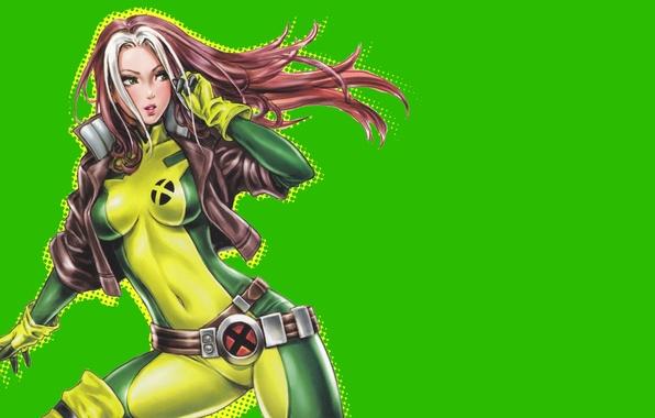 Picture look, hair, art, jacket, costume, belt, green background, Rogue, Marvel Comics, rascal