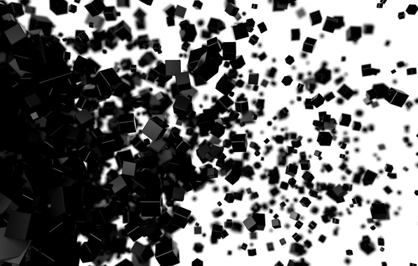 Picture white, cubes, black, render