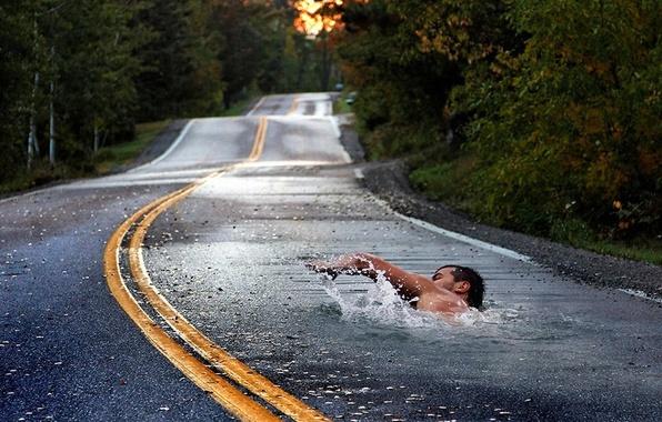 Photo wallpaper Asphalt, Swimmer, Road