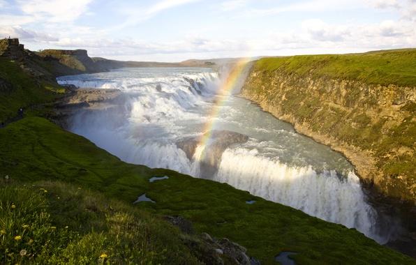 Picture river, open, waterfall, rainbow, stream, Iceland, Seljalandsfoss
