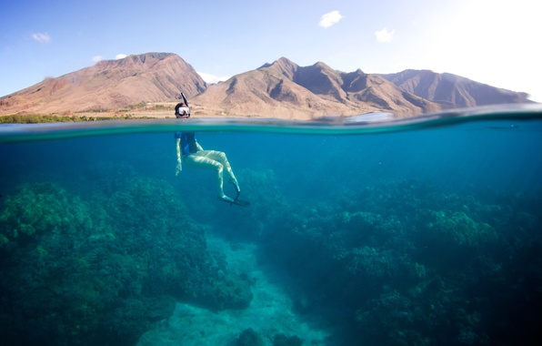 Picture summer, the sky, the sun, clouds, surface, mountains, the diver, the bottom of the sea, …