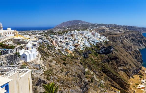 Picture sea, the sky, the city, rocks, coast, home, Greece, horizon, Santorini