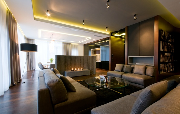 Picture room, furniture, candles, chairs, table, sofas, living room, floor lamp.