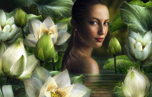 Picture girl, pond, Lily, bathing