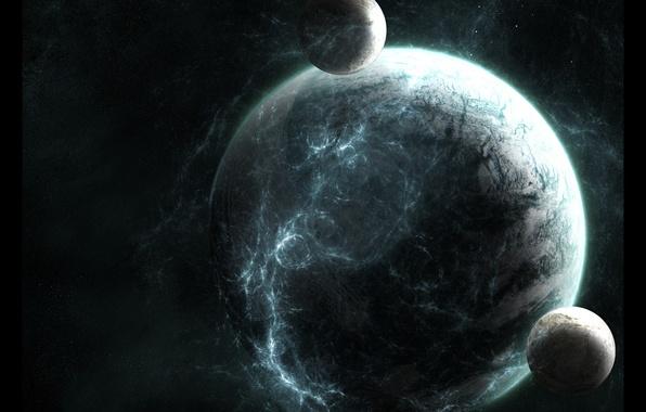 Picture stars, planet, satellites, planet, satellites