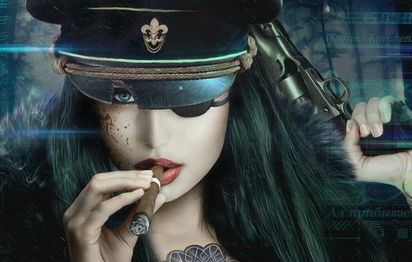 Picture look, girl, gun, weapons, cigar, cap, Vincent Tanguay, LaserFaust - Vladrina