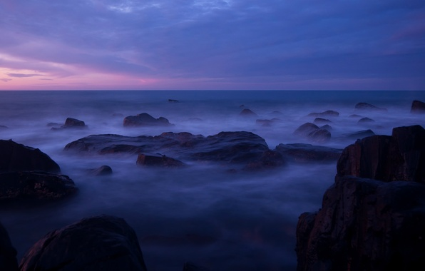 Picture the sky, clouds, sunset, stones, the ocean, lilac, shore, coast, the evening, Australia