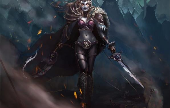 Picture look, weapons, elf, armor, Fantasy, cloak, dark elf