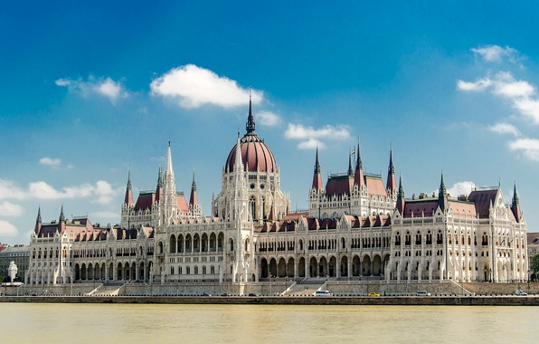 Picture the sky, clouds, landscape, river, Parliament, Hungary, Budapest, The Danube