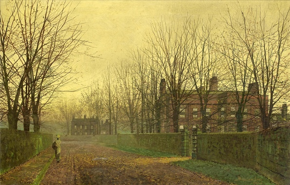 Picture autumn, leaves, girl, trees, branches, street, the fence, home, picture, alley, wicket, John Atkinson Grimshaw