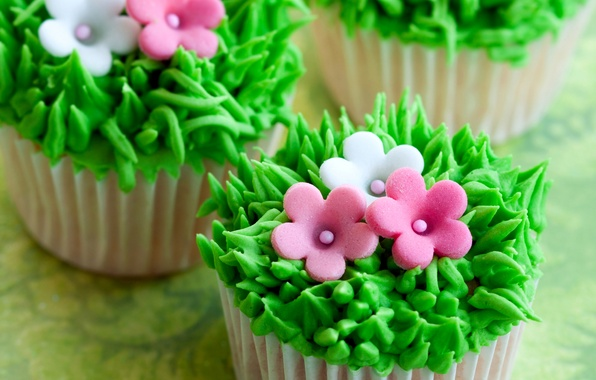 Picture grass, flowers, cream, dessert, cakes, sweet, cupcakes
