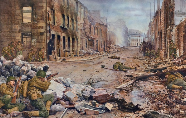 Picture war, street, smoke, figure, France, art, soldiers, the ruins, uniforms, shots, troops, rifle, WW2, American, …