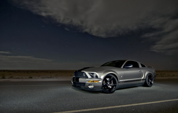 Picture the sky, clouds, night, Mustang, Ford, Shelby, GT500, Mustang, silver, muscle car, Ford, Shelby, muscle …