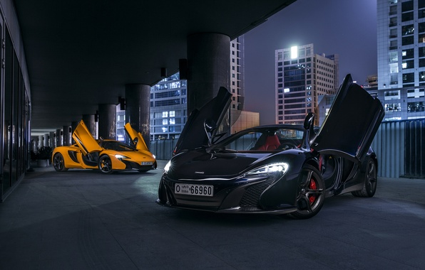 Picture McLaren, Orange, Dubai, Front, Black, Supercars, 650S, Doors