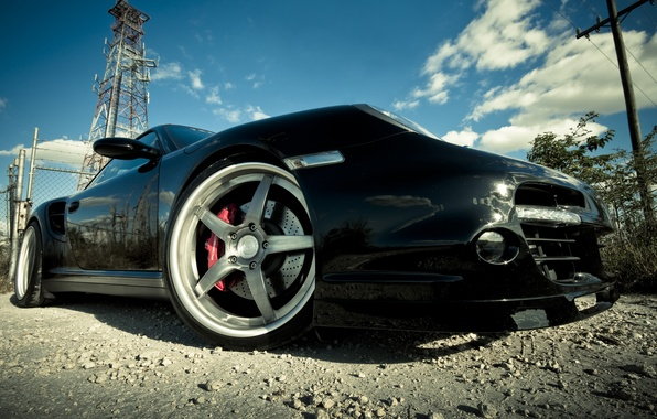Photo wallpaper Porsche, black, drives