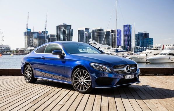 Photo wallpaper blue, Mercedes-Benz, Mercedes, AMG, Coupe, C-Class, C205