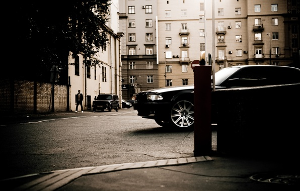 Picture the city, street, building, home, Boomer, seven, e38, bumer, bmw 750