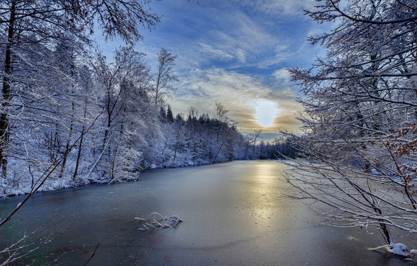 Picture winter, trees, river, Germany, Germany, Baden-Württemberg, Baden-Württemberg, river Suippe, River Schwippe