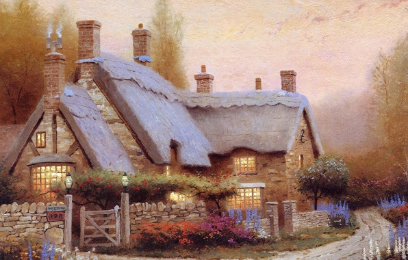 Picture summer, flowers, picture, house, painting, cottage, Thomas kinkade, Kincaid