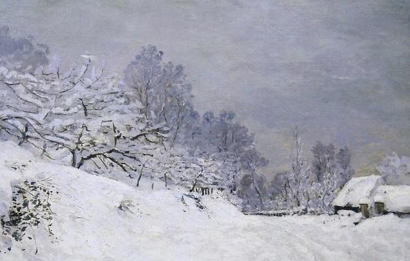 Picture snow, landscape, picture, Claude Monet, The road to the Farm Saint-Simeon in Winter