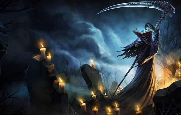 Picture death, darkness, graves, candles, braid, spell, League of Legends, LoL, Karthus