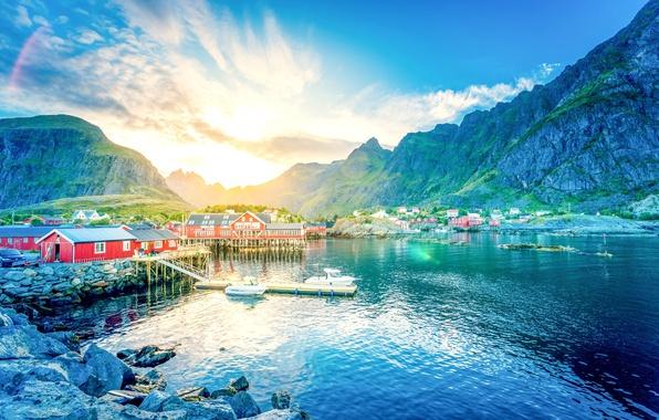 Picture the sun, mountains, lake, stones, dawn, shore, home, boats, pier, Norway, gorge, town, Lofoten