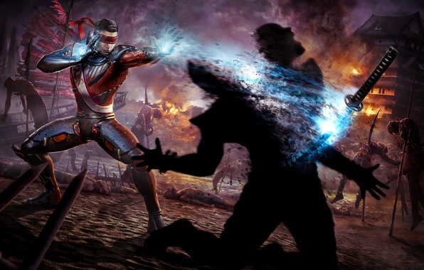 Picture death, fire, fire, sword, warrior, MAG, Mortal Kombat, soul, the killer, Kenshi