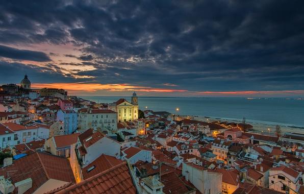 Photo wallpaper sunrise, Portugal, lisbon