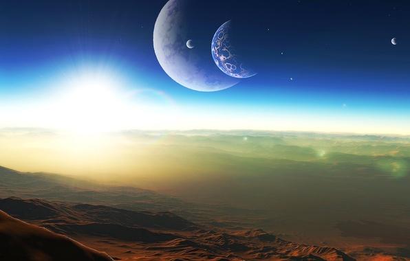 Picture the sky, landscape, planet, satellite