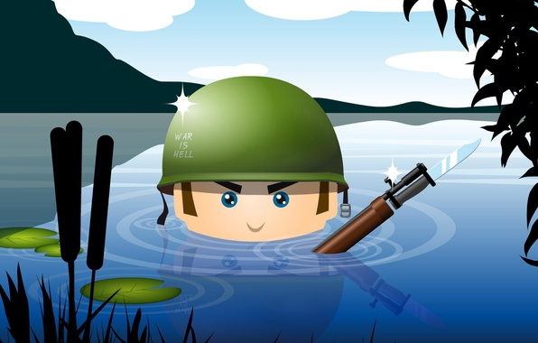 Picture water, weapons, army, soldiers