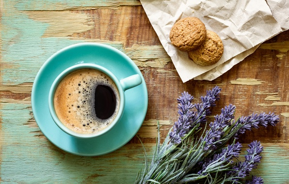 Picture paper, coffee, cookies, Cup, saucer, lavender