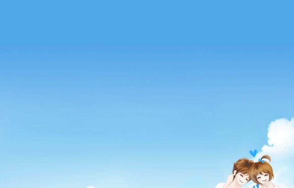 Picture the sky, girl, happiness, romance, cloud, guy, two, smile, Enakei
